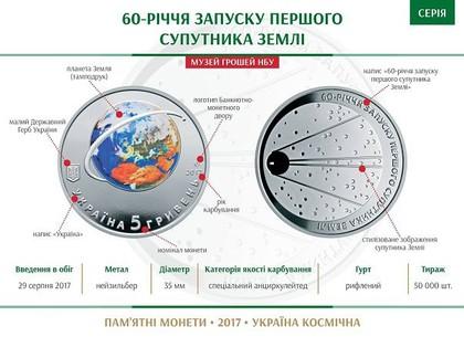 Нацбанк введет вобращение монету, посвященную запуску первого спутника Земли