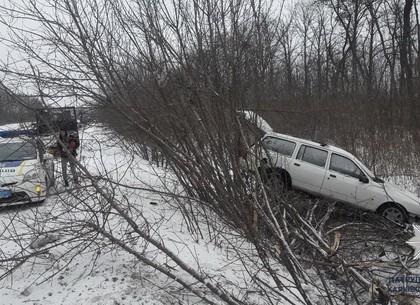Авария на Салтовском шоссе: Иномарка вылетела в кювет (ФОТО)