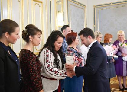 Встреча четы Президента Украины Владимира Зеленского с харьковскими преподавателями-призерами