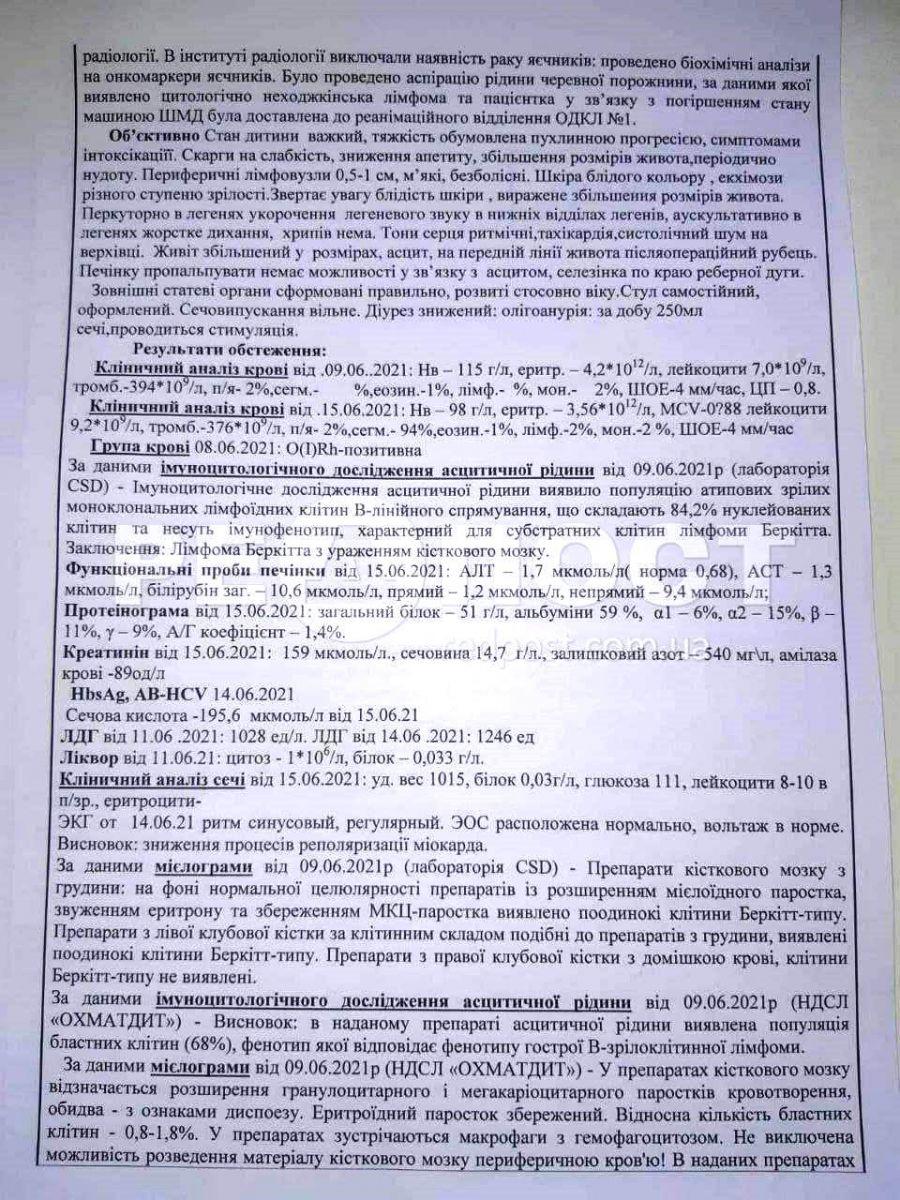 В Харькове собирают средства на лечение 17-летней Анастасии Могилевской