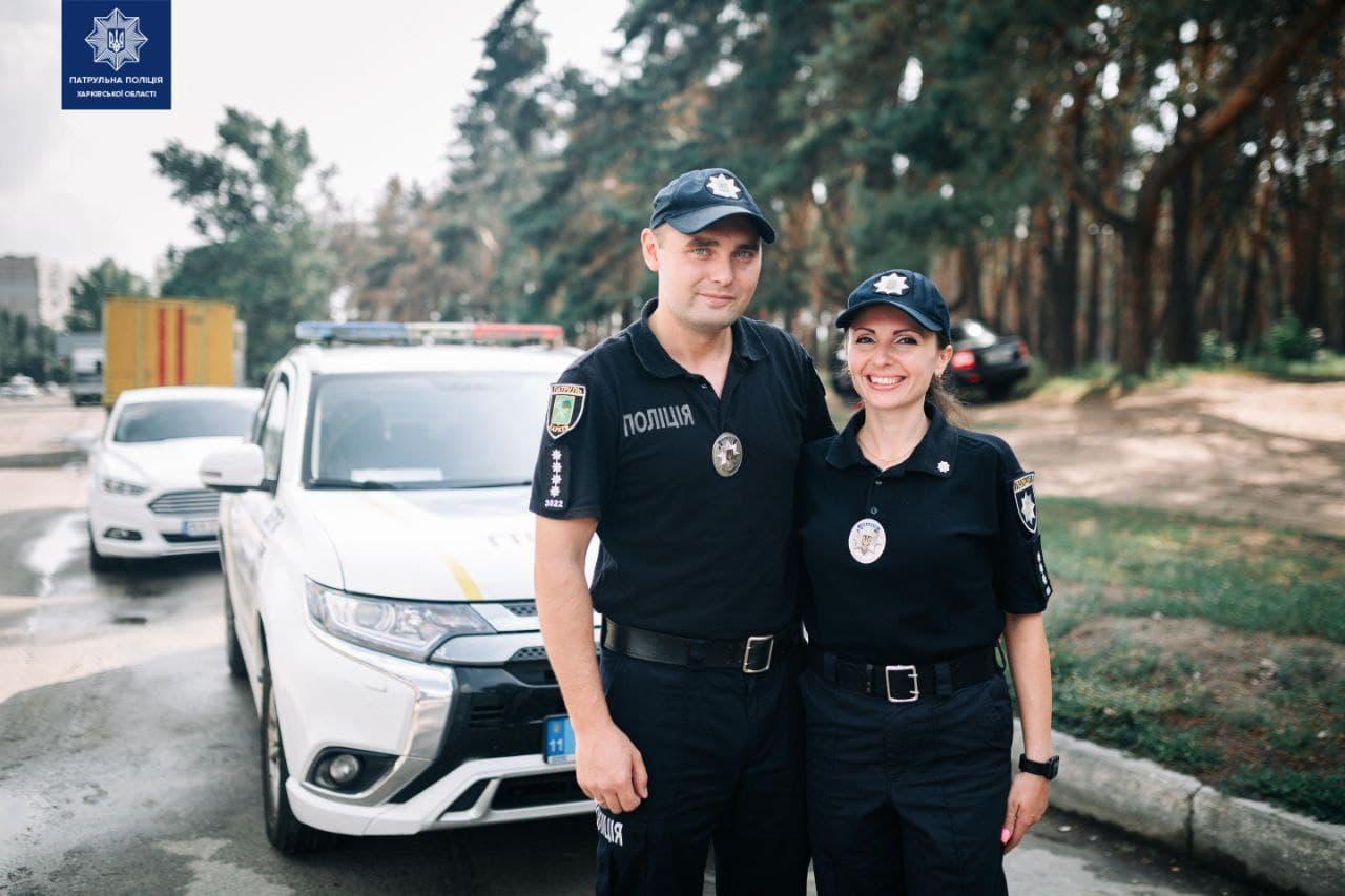Патрульные полицейские Александр и Дарья Сабуровы