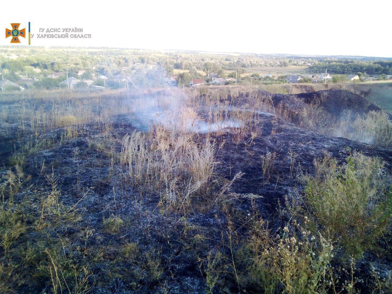 Поле стерни сгорело под Харьковом