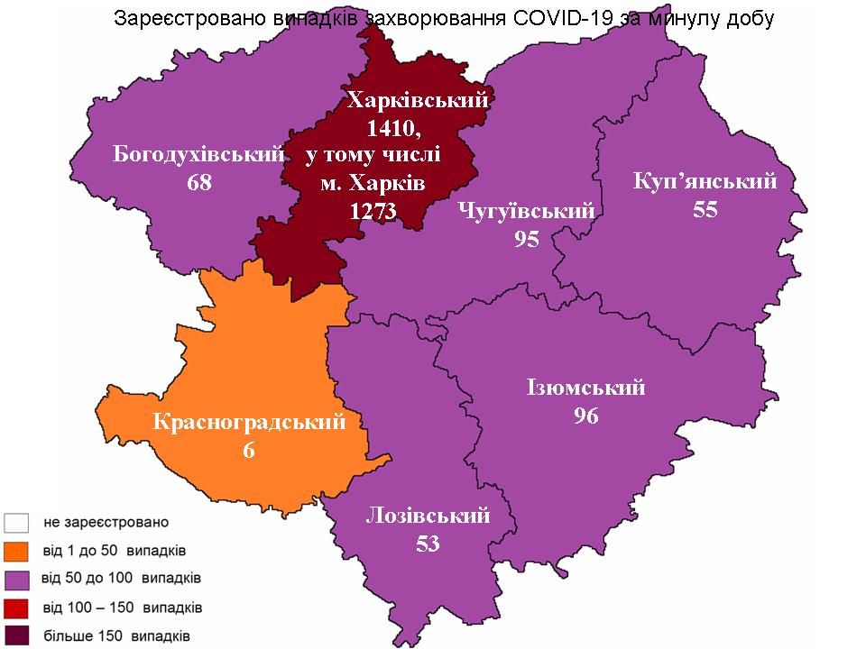 Новые случаи заражения коронавирусом лабораторно зарегистрированы в Харьковской области на 10 октября 2021 года.